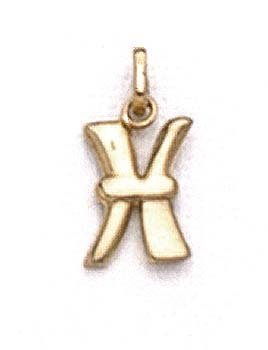 "Pendentif initiale poli 14 carats X 11/16 ""- JewelryWeb"