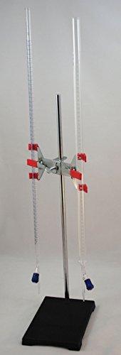 Buret Burette Glass - Dual Titration Station w/100ml & 50ml RotoFlo Glass Burette: Heavy Support Stand & Dual Buret Clamp