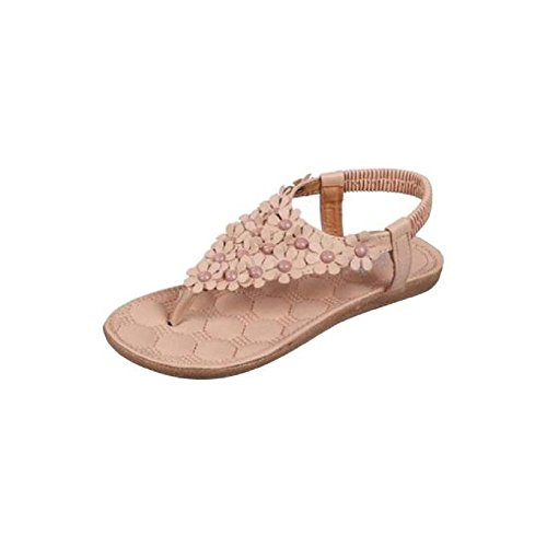 Sandals Toe Shoes Kaki sandales Women Clip Bohemia doux OVERMAL Beach perlées Herringbone été Hx48wqa8SU
