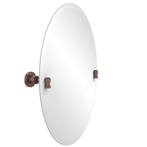 - Allied Brass WS-91-CA Frameless Oval Tilt Mirror with Beveled Edge Antique Copper