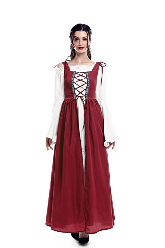 ROLECOS Irish Renaissance Costume Womens Medieval Over Dress and Chemise Boho Set Red XXL/3XL]()