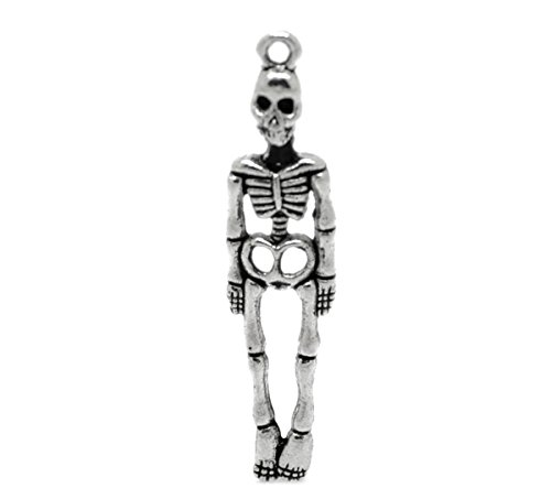 "Housweety 50PCs Silver Tone Skeleton Body Skull Charm Pendants 39x9mm(1 4/8""x3/8"")"