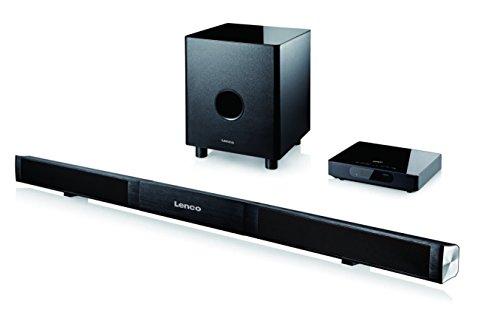 Lenco SB-0160 2.1 Aluminium Soundbarsystem (Bluetooth/kabelloser Subwoofer (Funk), externer Verstärker, HDMI, LED-Display, 80 Watt, Fernbedienung) schwarz