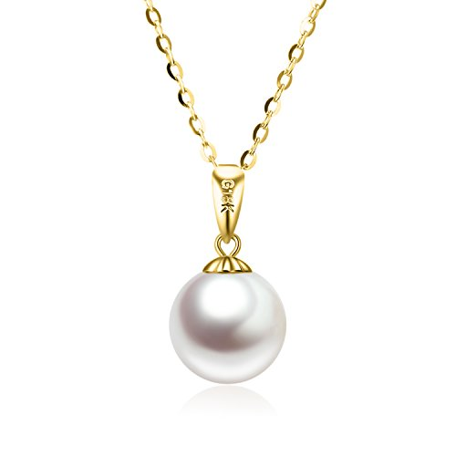 - SISGEM 14K Gold Pearl Necklaces for Women, Yellow Gold Pearl Pendant Necklace Gold Chain (Freshwater Cultured, 8 mm) 18