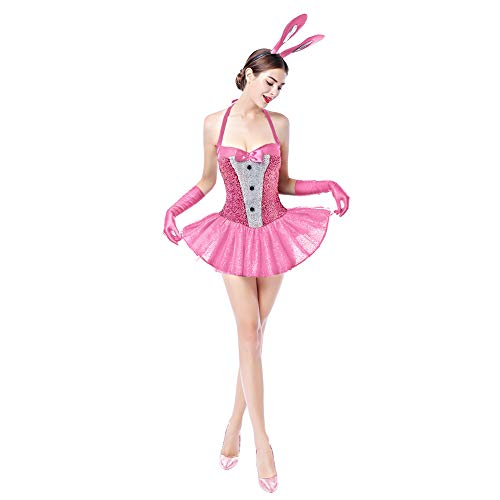Womens Playboy Bunny Costumes Sexy Rabbit Babydoll Cosplay Lingerie Halloween Dress up 3pcs Outfits Nightwear Clubwear with Gloves Pink L