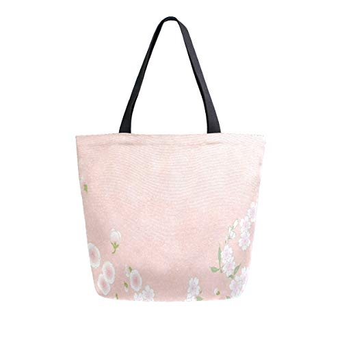 Reusable Grocery Shopping Bag Flower Pattern & Colors In Japanese Style Womens Canvas Tote Bags Foldable Shoulder Handbags