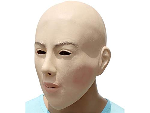 Hezon Happy Festival Funny Halloween Bald Head Girl Mask Ghost Party Clown Mask for Masquerade (Skin Color)