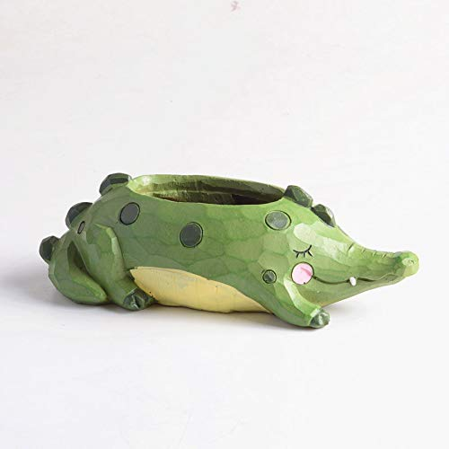 Cute Animal Shaped Succulent Vase Flower Pots for Home Decorations or gifts (Green Alligator)]()