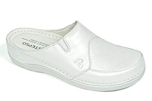 Clogs White Leather - STEPSO Clogs Women's Leather Lightweight Professional Comfort Nursing (9 M US, Pearl White)