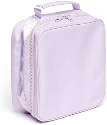 Ban.do What's For Lunch? Square Lunch Bag with Insulated Silver Lining, Large Capacity Lunch Box for Women, Lilac