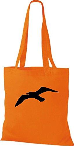 ShirtInStyle Bolso de tela Bolsa de algodón Vela Motivo Gaviota Naranja