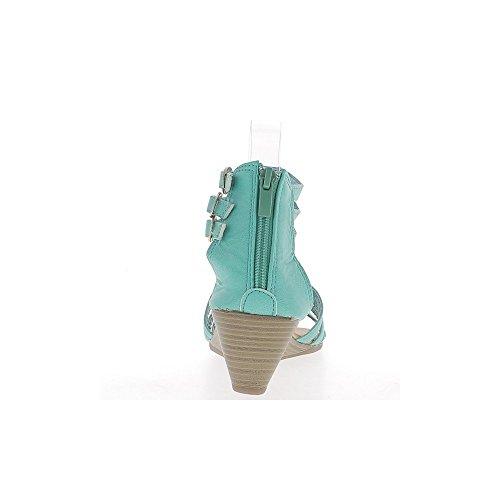Cuña azul sandalias pequeña 5cm talón rhinestone delgadas bridas y
