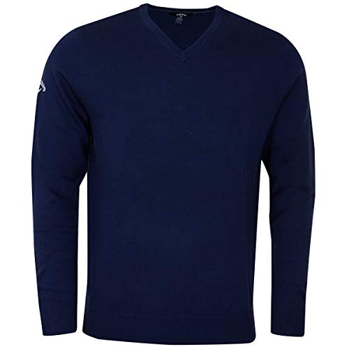 Pullover V-neck Callaway - Callaway 2018 Weather Series Mens Thermal Ribbed V Neck Merino Golf Sweater Dress Blues Large