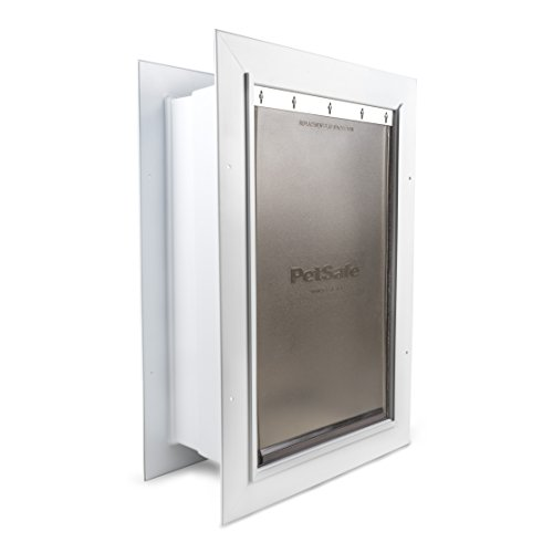 - PetSafe Wall Entry Pet Door with Telescoping Tunnel, Large, for Pets Up to 100 Lb, White, Made in The USA