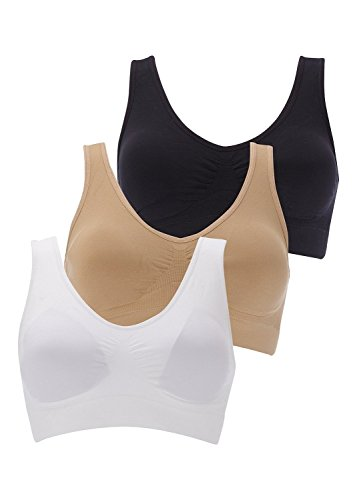 Boolavard New Seamless Sports Style Bra Crop Top Vest Comfort Stretch Bras Shapewear by XXL (20-22), White, Black & Nude (3 Pack)