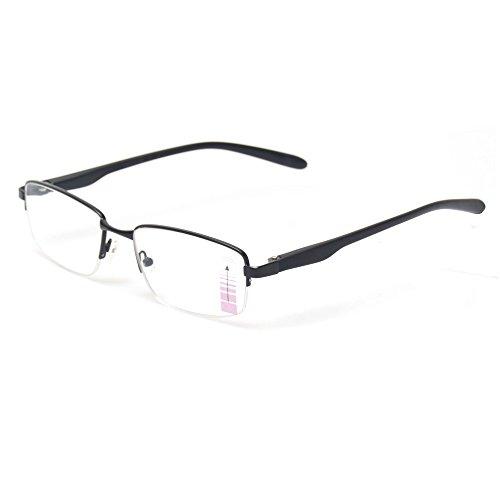 Progressive Multiple Focus Reading Glasses Metal Half Frame Multifocus Glasses for Men and Women (Black, 2.50)