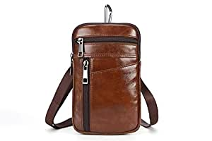 Personalized Personality Fashion Men's Pockets Leather Belt Mobile Phone Bag Oil Wax Leather Shoulder Casual Bag Creative (Color : Brown, Size : M)