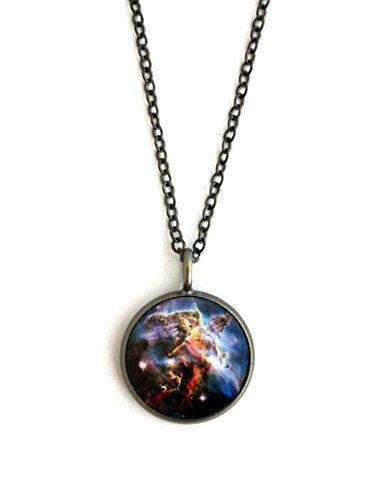 Galaxy Space Pendant Carina Nebula - Antique Silver or Bronze (antique silver)