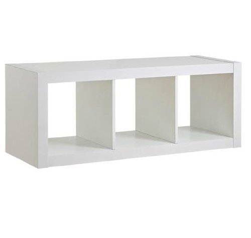 Better Homes and Gardens` Organizer Storage Bookshelf (White, 3-Cube) (Modular White Bookcase)