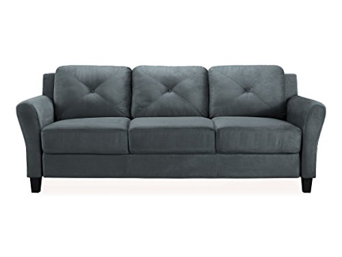 Pearington Merango Microfiber Living Room 3 Seat Sofa, Dark Gray