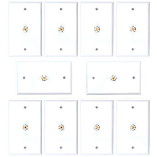 10pcs 1 Port Satellite Wall Plate Dish Aproved RCA Coax Cable Jack for CCTV, TV
