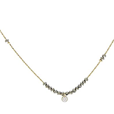 Zag Bijoux Collier Fin hématite et Strass (doré)  Amazon.fr  Bijoux 69d0d9ab950a