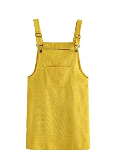 MAKEMECHIC Women's Bid Strap Pocket Dungaree Mini Overall Dress 1-Yellow S