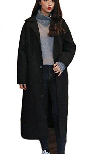 1a725647876e0 PIITE ラシャコート レディース 秋用 冬用 ロングコート 膝丈 韓国 ファッション ゆったり 着痩せ