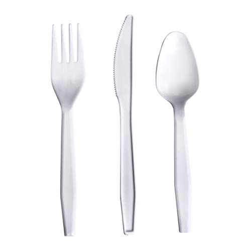 AmazonBasics 1440 Piece Plastic Cutlery Set, Light-Weight, White (720 forks, 480 spoons, 240 knives)