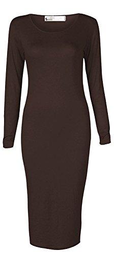 MRstriver Women's Long Sleeve Scoop Neck Midi Dress ChocolateLarge / X-Large (12 / 14)]()
