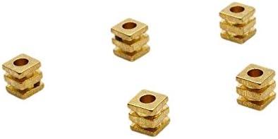 Nina スクエア ビーズ 【5mm ゴールド10個セット 柄 穴あき 】アクセサリーパーツ オリジナル ブレスレット