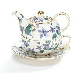 Teapot Tea For One Duo Teapot And Teacup Lavender Violets 15 Oz Total