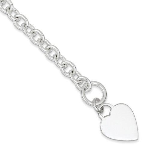 Icecarats Créatrice De Bijoux En Argent Sterling Disque De Coeur À Graver Sur Le Lien De Fantaisie Bracelet Bascule