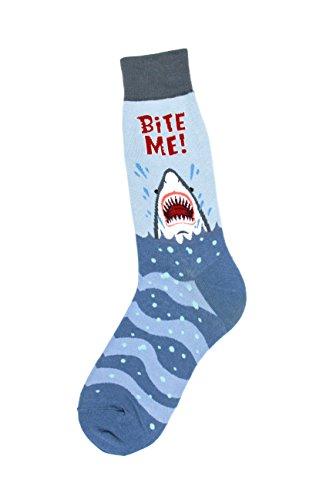 Foot Traffic - Men's Animal-Themed Socks, Bite Me (Men's Shoe Sizes 7-12) -