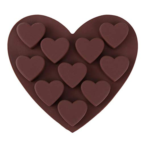 10 Holes Heart-Shape Chocolate Cake Mold Silicone Mould DIY Fondant Cookie Biscuits Decor Tool Ice Jelly Mould Baking Tools Xiaolanwelc
