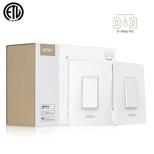 (MOES 3 Way WiFi Smart Switch for Light,Compatible with Alexa and Google Home,No Hub Required,Smart Life APP Provides Control from Anywhere,ETL)