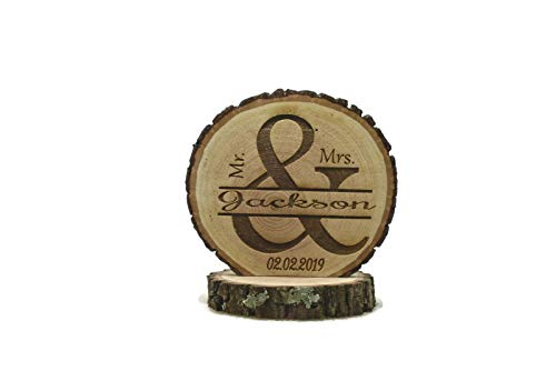 Rustic Wedding Cake Topper Ampersand Personalized Tree Wood Slice