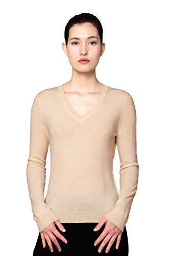 Goyo Cashmere Women's 100% Pure Cashmere Sweater – Long Sleeve V-Neck Pullover (Beige, XL)