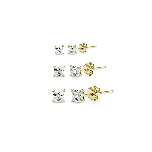 - 3 Pair Set Yellow Gold Flashed Sterling Silver Cubic Zirconia Princess-Cut Square Stud Earrings, 2mm 3mm 4mm
