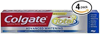 (PACK OF 4 TUBES) Colgate Total ADVANCED TOOTH WHITENING Toothpaste. Whitens & Removes Surface Stains! ANTI-CAVITY FLUORIDE, ANTI-GINGIVITIS & ANTI-PLAQUE! (Pack of 4 Tubes, 8.0oz each - Tube Each Oz 8
