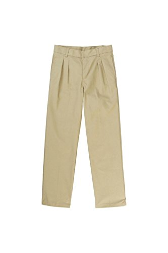 Waist Khaki Adjustable (French Toast Big Boys' Pleated Double Knee Pant with Adjustable Waist, Khaki, 14)