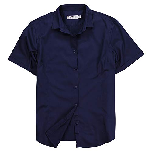 (Urban Boundaries Womens Basic Tailored Short Sleeve Cotton Button Down Shirt (Navy, XX-Large))