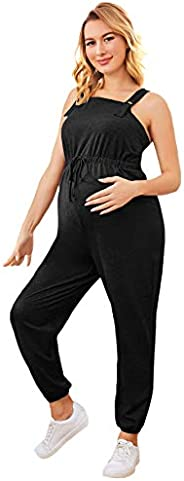 MakeMeChic Women's Maternity Jumpsuit Sleeveless Drawstring Waist Overall Jumps