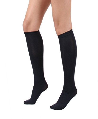 Women's Semi Opaque Knee High Trouser Sock 3pair / 6pair (One Size : XS to M, 3pair-Black)