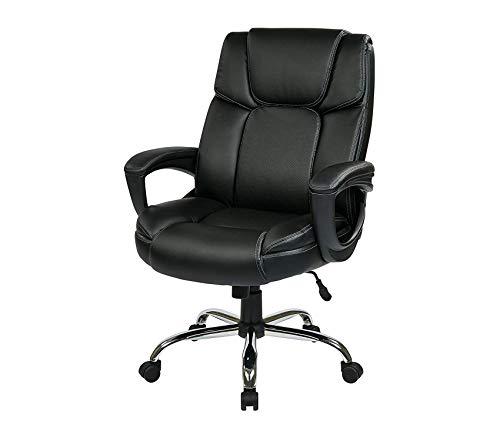 - Executive Black Eco Leather Big Mans Adjustable Office Chair with Padded Loop Arms and Chrome Base