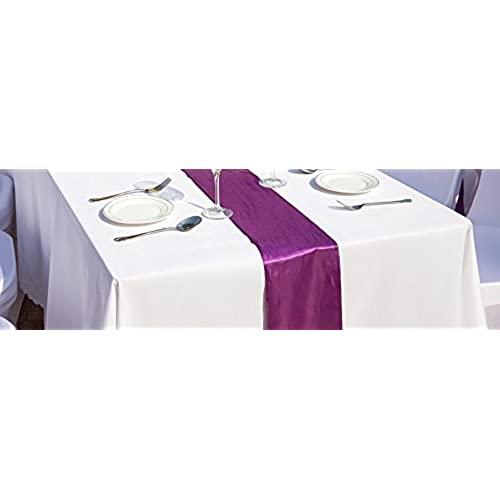 Wedding decorations for reception tables amazon spring rosetm huge 14 inch x 108 inch purple satin table runner set of 10 make your reception pop with these gorgeous wedding decorations junglespirit Image collections