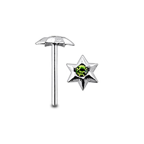 Light Green Jeweled Hexagon Star Top 22 Gauge - 8MM Length Silver Straight End Nose Stud Nose Piercing ()