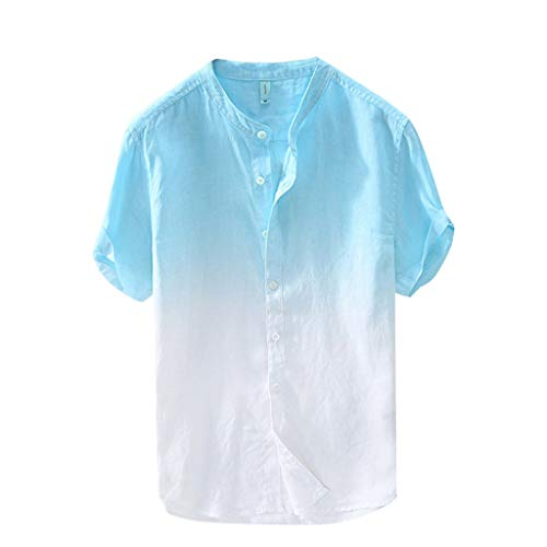 (iYBUIA Men's Summer Vintage Round Collar Chinese Style Henley Shirts Gradient Short Sleeve Linen Tops Sky Blue)