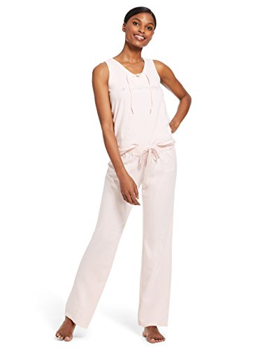 bebe Womens 2 Piece Sleeveless V-Neck Top Pants Pajama Lounge Set Light Pink Small Casual Lounging Pant Set