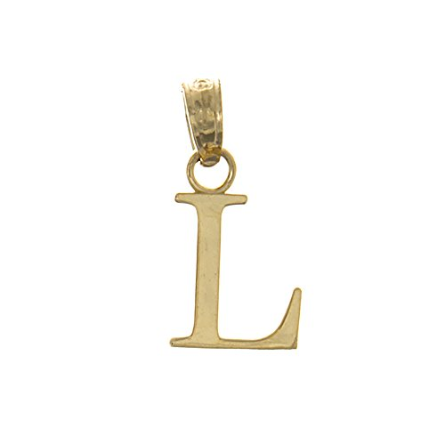 14k Gold Block Letter - 14k Yellow Gold Letter Charm Pendant, L Block Initial, High Polish